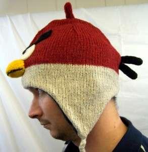 Mens Angry Birds Red Hat Cartoon Animal Warm Wool Winter Ski Cap Ear
