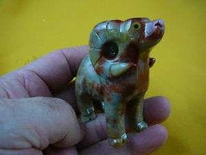 y223 3) BIGHORN SHEEP RAM carving RED stone gemstone SOAPSTONE