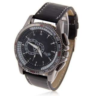 Stylish Gents Mens Leather Sport Quartz Wrist Watch BLACK Dial Band