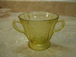 FEDERAL MADRID Yellow Depression Glass SUGAR BOWL