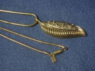 Vintage 1920 Costume Jewelry Gold Leaf Slide Necklace