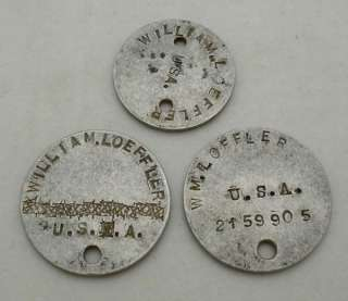 WW1 UNITED STATES ARMY SET OF 3 DOG TAGS NAME AND MATCHING SERIAL