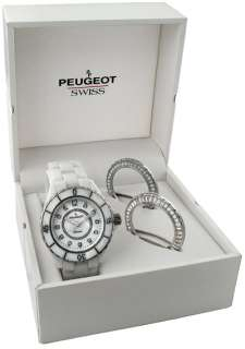 PEUGEOT Swiss Ladies New Watch White Ceramic Crystals