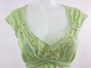 AQUARIUS Green Cap Sleeve Embellished Shirt Blouse Sz M