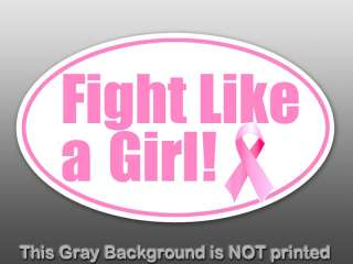 Oval Fight Like A Girl Sticker decal pink cancer ribbon