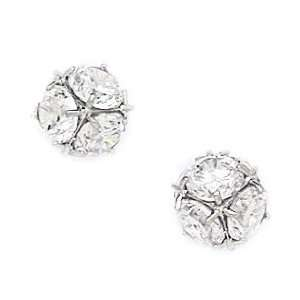 14k White Gold CZ Large Disco Ball Screwback Earrings   Measures 9x9mm