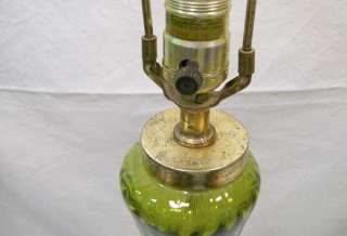 Dark olive green translucent glass table lamp   shade is not inlcuded