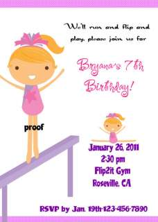GYMNASTICS tumbling CUSTOM BIRTHDAY PARTY INVITATIONS