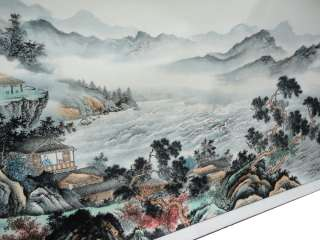 Chinese Color Ink Landscape Ocean View Scroll Painting WK2023