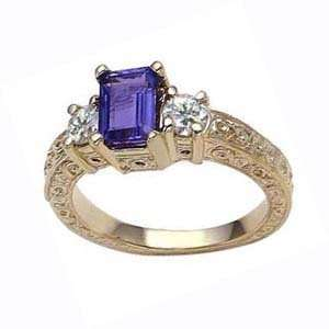 14k Triple A Emerald Cut Tanzanite Diamond Ring (1.60 cts