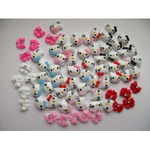 Nail Art 3d 70 Pieces Hello Kitty Head & Bow for Nails, Cellphones 1