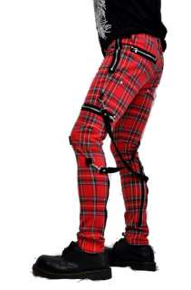 TRIPP NYC GOTHIC CHAOS TIGHT RED TARTAN PLAID PUNK EMO PANTS