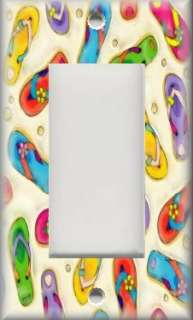 Light Switch Plate Cover   Beach Decor   Colorful Flip Flops