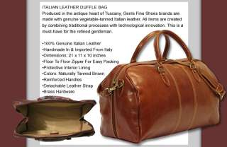 ITALIAN LEATHER DUFFLE DUFFEL TRAVEL BAG BROWN LUGGAGE MADE IN ITALY