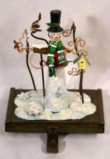 Stocking Holder Birdhouses Snow Man Snowflakes Heavy Metal Christmas