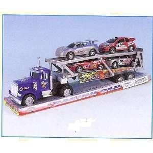 DELUXE TOY SEMI TRACTOR TRAILER + BONUS 4 RACING CARS Toys & Games