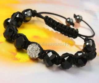 Awesome Black Glass Crystal Rhinestone Disco Ball Bead HIPHOP Macrame