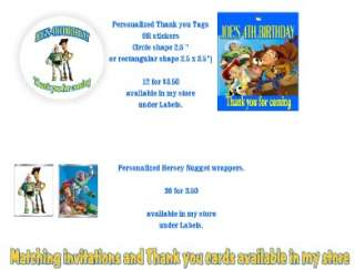 TOY STORY CANDY BAR WRAPPERS OR FAVOR TAGS