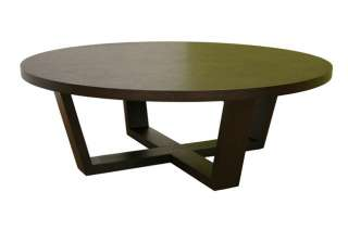 Tilly Modern Large Round Black Oak Coffee Table Wenge Baxton Studios