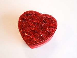 Vintage Red Sequin Topped Heart Shaped Trinket Box MIP