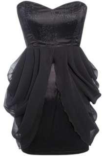 Rare Topshop Black Lace Chiffon Bandeau Dress Size UK 10 BNWT