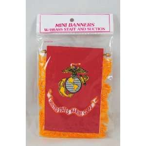 USMC Marine Corps Mini Car Banner Flag w/ suction cup: Home & Kitchen