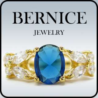 BLUE SAPPHIRE YELLOW GOLD GP COCKTAIL JEWELRY RING 7 O