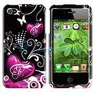 Flowers Love Heart Pink Purple Hard Case Cover Apple iPhone 4 4G 4S