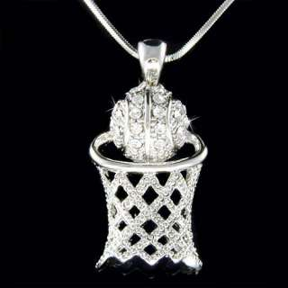 Swarovski Crystal Basketball Hoop Net Sports Necklace