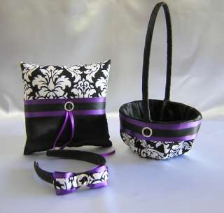 Wedding Accessories Damask Purple Flower Girl Basket Headband Ring