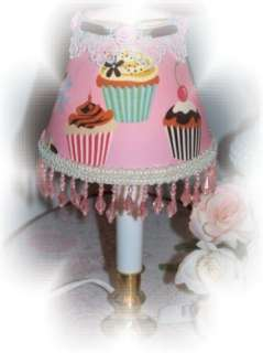 New Pink Sweet Tooth CUPCAKES Beaded CHIC Mini LAMP SHADE
