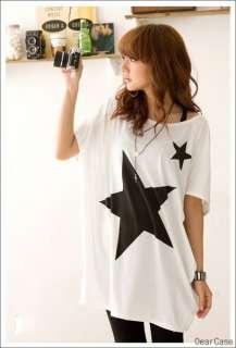 Womens Korea Loose Batty Sleeve Five Star Tops T Shirt