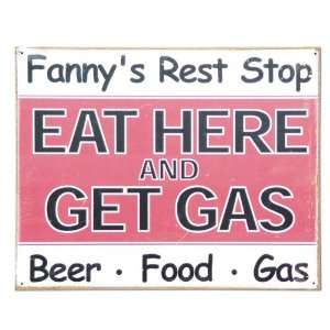 Fannys Rest Stop Vintage Style Metal Sign