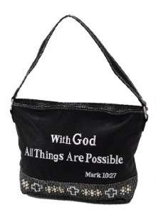 Black With God Cross All Things Possible Bible Vs Western Handbag