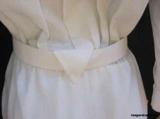 THIERRY MUGLER $930 Womens Ivory Belted Dress 6/36 NWT