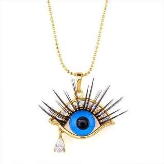 Vogue CZ Sets 18K Yellow Gold Filled Necklace + Eye pendant + necklace