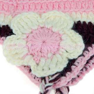 Baby Toddler Crochet Knit Beanie Earflap Hat Cap+Braid