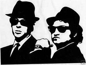 THE BLUES BROTHERS #2 JAKE & ELWOOD PEEL & RUB ON BLACK VINYL DECAL