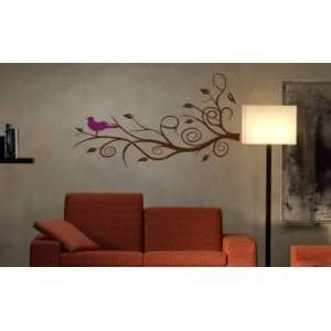 Modern Tree Branch with Birdie Wall Decal Sticker Art