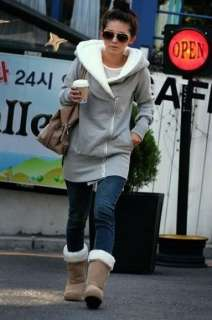 Korea Women Hoodie Jacket Coat Warm Outerwear hooded Zip Up Gray Black