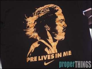 NIKE STEVE PREFONTAINE PRE LIVES IN ME DRI FIT RUNNING SHIRT BLACK