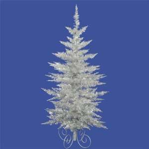 Pack of 2 Silver Tinsel Christmas Trees with Silver Swirl