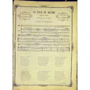 : Le Tour Du Monde Song Music Score Nadaud Print 1868: Home & Kitchen
