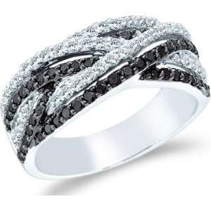 Size   6   14k White Gold Black Diamond and White Cross Over Round Cut