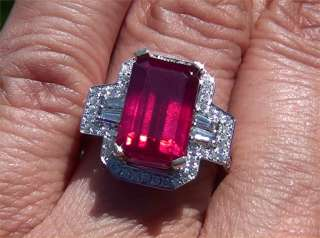 Vintage Estate 10.02 ct CERTIFIED Natural Red Ruby Diamond Ring 14K