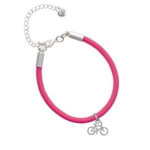 Small Bicycle Charm on a Hot Pink Malibu Charm Bracelet