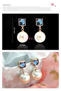 18K Gold Plated Blue Pearl Earring Use Swarovski Crystal EP0021 Free