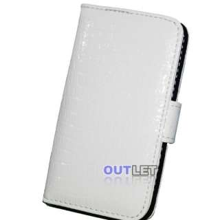 White Crocodile Leather Wallet Case Cover for iPhone 4G
