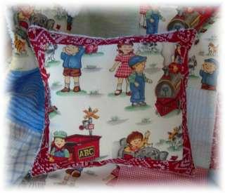 Vintage Train chenille baby boy crib quilt bedding blue