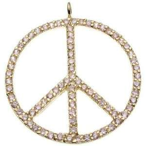 18K Yellow Gold Plated Sterling Silver Pink Peace Pendant